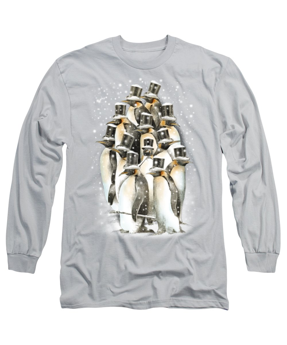 Penguins Long Sleeve T-Shirt featuring the drawing A Gathering In The Snow by Eric Fan