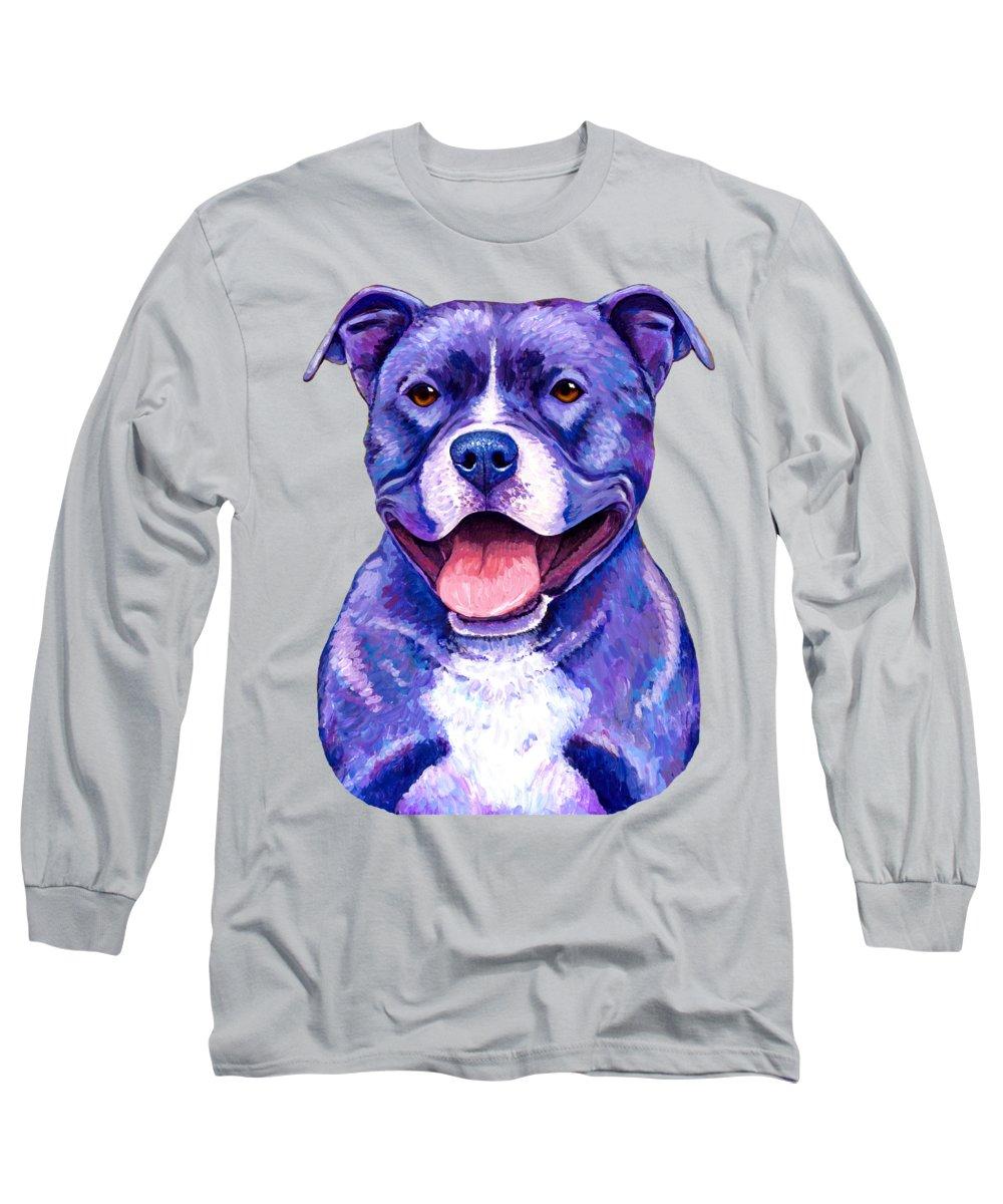 Pitbull Paintings Long Sleeve T-Shirts
