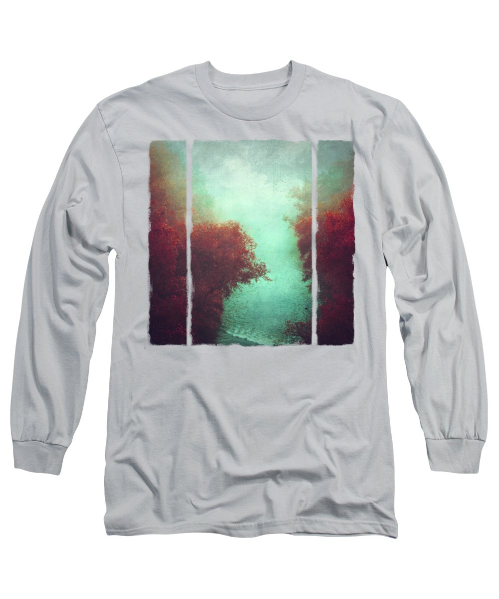 River Long Sleeve T-Shirt featuring the photograph Copper Trees And River In Mist by Dirk Wuestenhagen