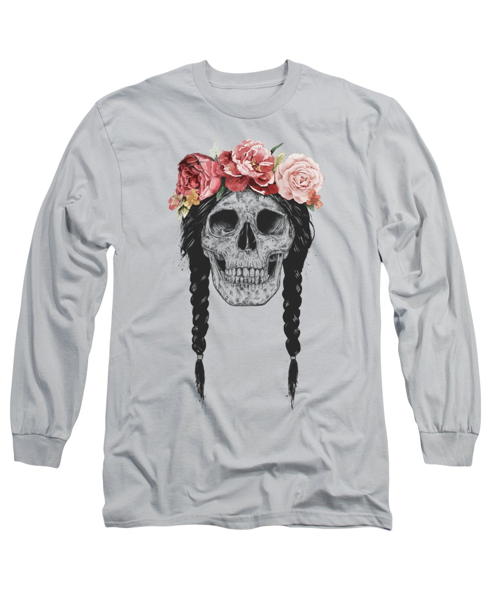 Skull Long Sleeve T-Shirt featuring the drawing Festival Skull by Balazs Solti
