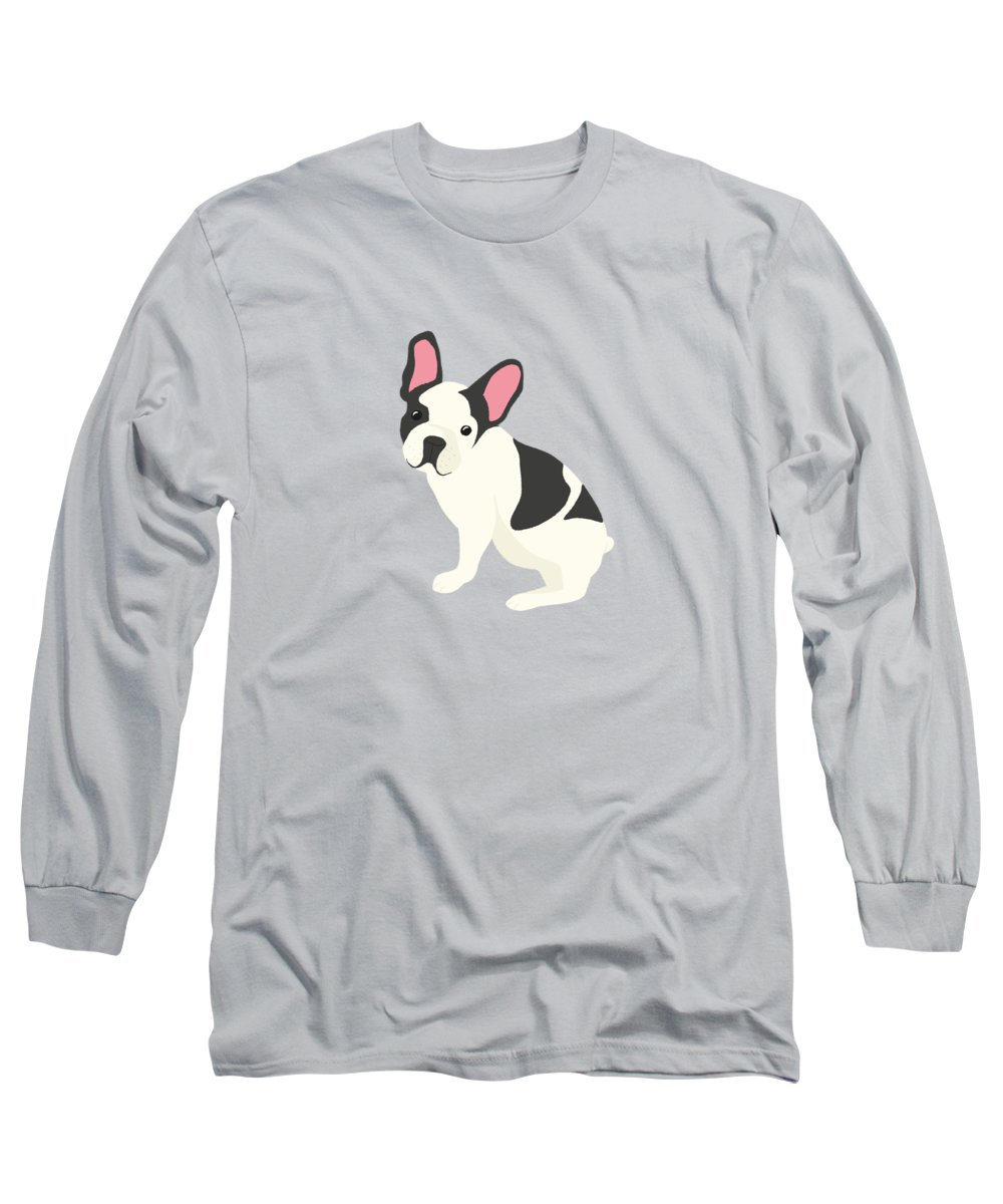 Retro Long Sleeve T-Shirt featuring the painting Hanging Plants And A French Bulldog In A Midcentury Interior by Little Bunny Sunshine