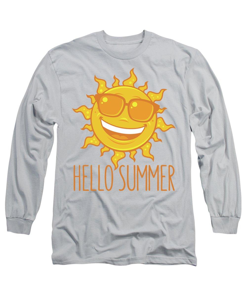 Beach Long Sleeve T-Shirt featuring the digital art Hello Summer Sun With Sunglasses by John Schwegel
