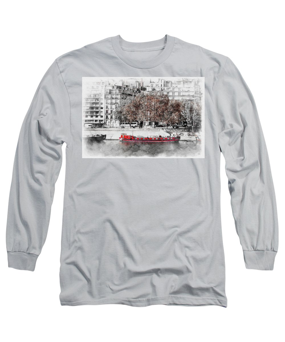 Paris Long Sleeve T-Shirt featuring the photograph Paris Red Houseboat by Tom Reynen