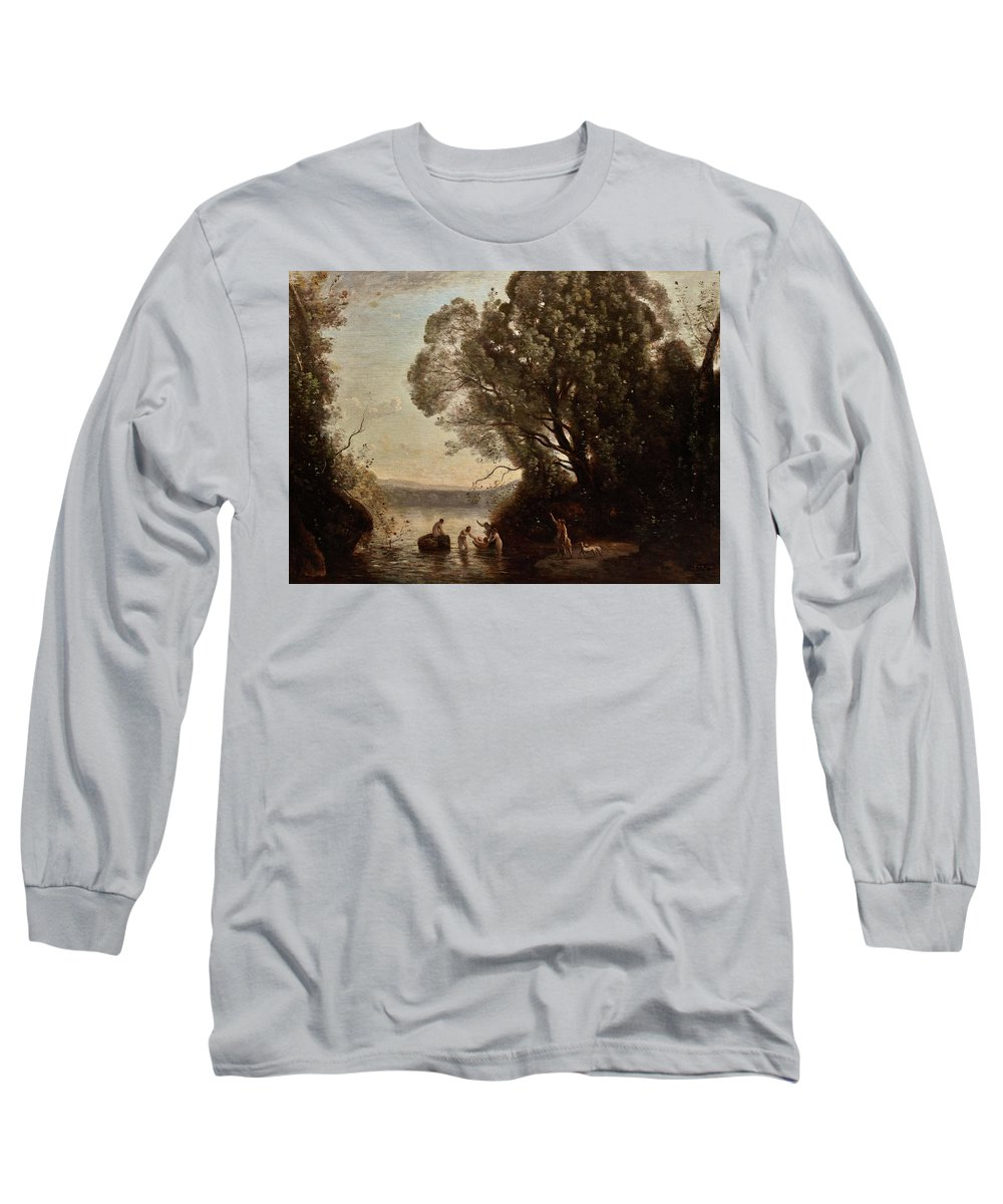 The Bath Of Diana Long Sleeve T-Shirt featuring the painting The Bath Of Diana by Jean-Baptiste-Camille Corot