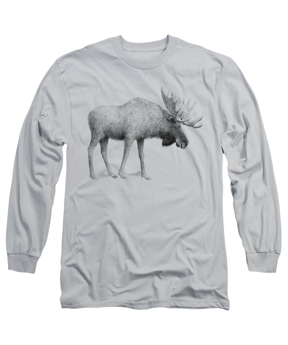 Moose Long Sleeve T-Shirt featuring the drawing Winter Moose by Eric Fan