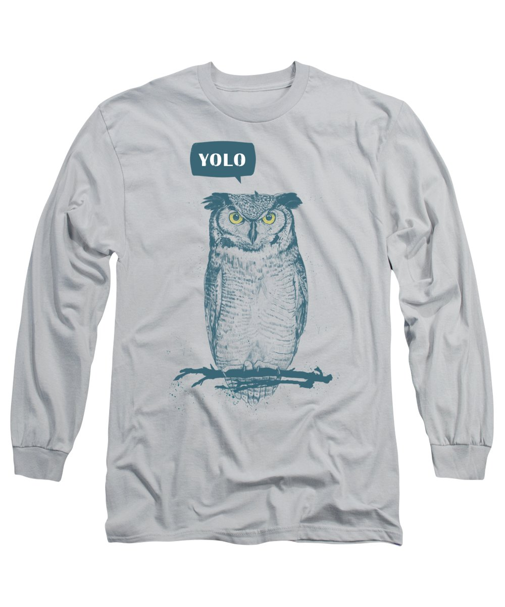 Owl Long Sleeve T-Shirt featuring the mixed media Yolo by Balazs Solti