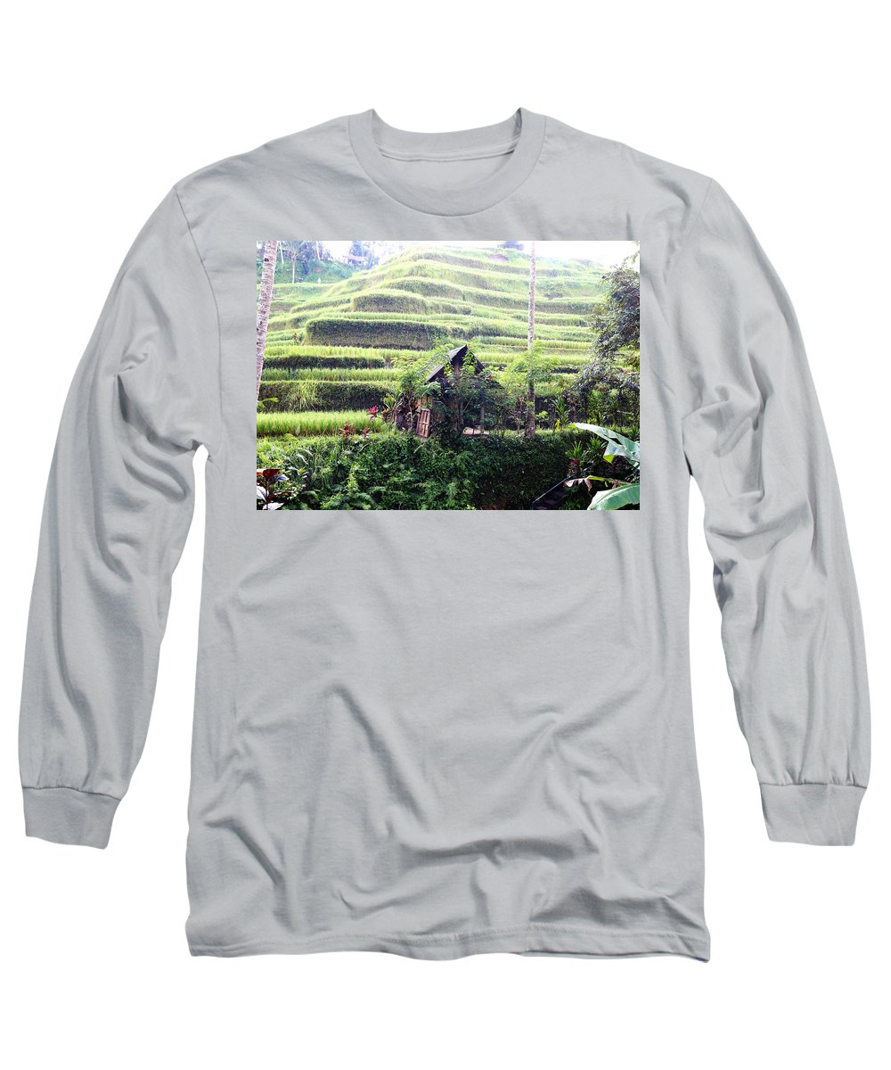 Hut Long Sleeve T-Shirt featuring the digital art Little hut surrounded by flowers by Worldvibes1