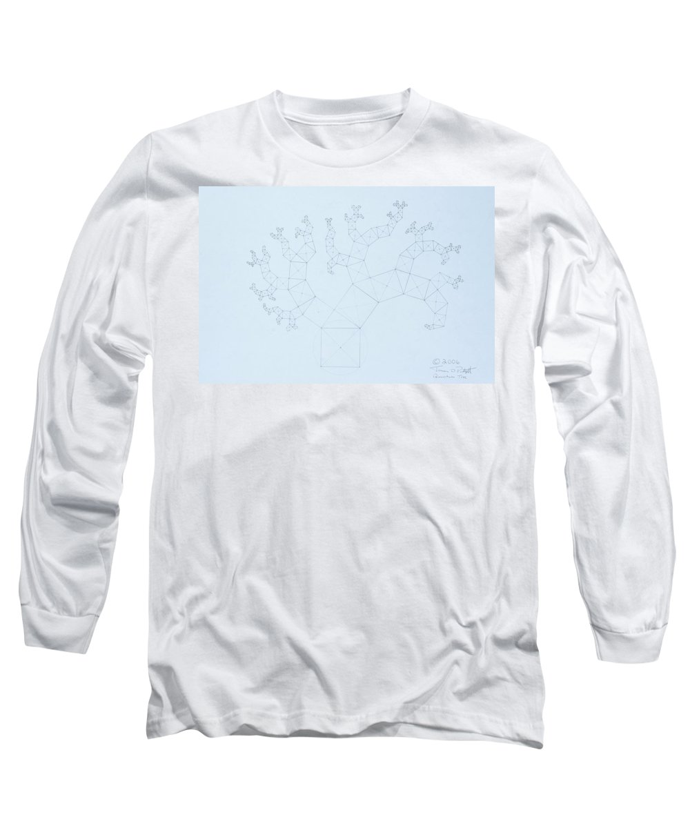 Fractal Tree Long Sleeve T-Shirt featuring the drawing Quantum Tree by Jason Padgett