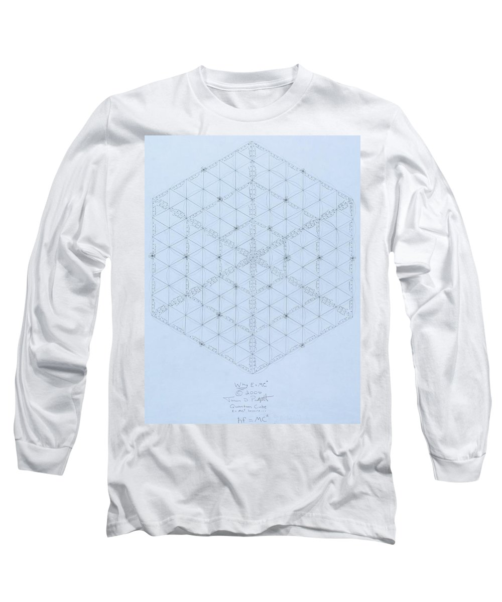 Energy Long Sleeve T-Shirt featuring the drawing Why Energy Equals Mass Times The Speed Of Light Squared by Jason Padgett