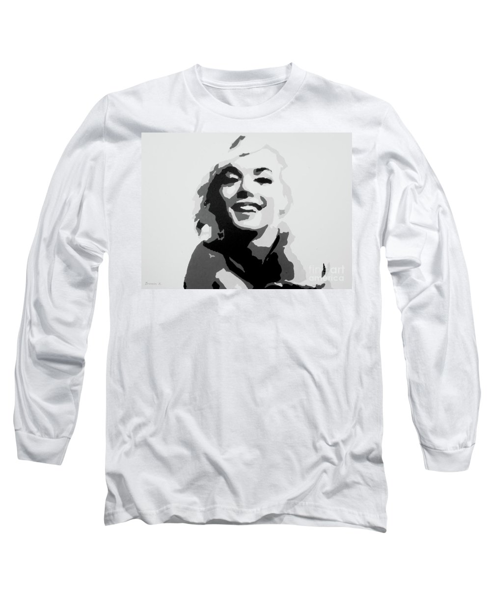 Marilyn Monroe Long Sleeve T-Shirt featuring the painting Marilyn Monroe by Katharina Filus