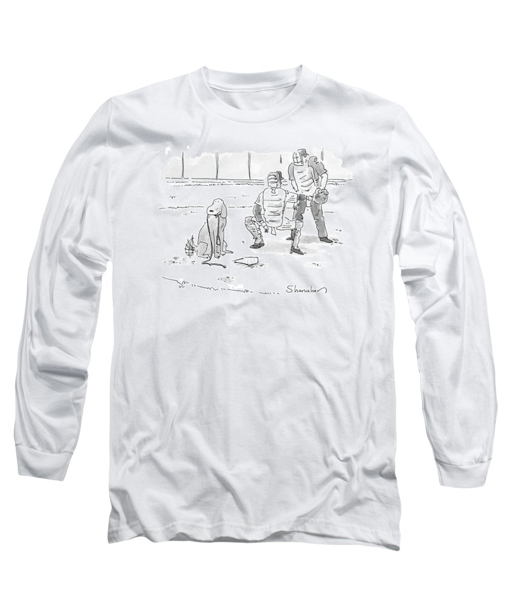 Sports Pets Dogs Baseball Homeplate Walk Long Sleeve T-Shirt featuring the drawing New Yorker October 10th, 2005 by Danny Shanahan