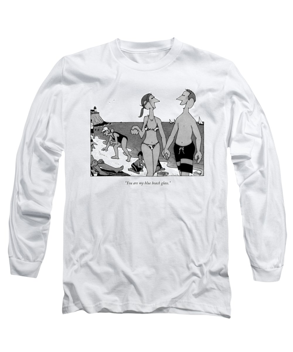 Beach Long Sleeve T-Shirt featuring the drawing You Are My Blue Beach Glass by William Haefeli