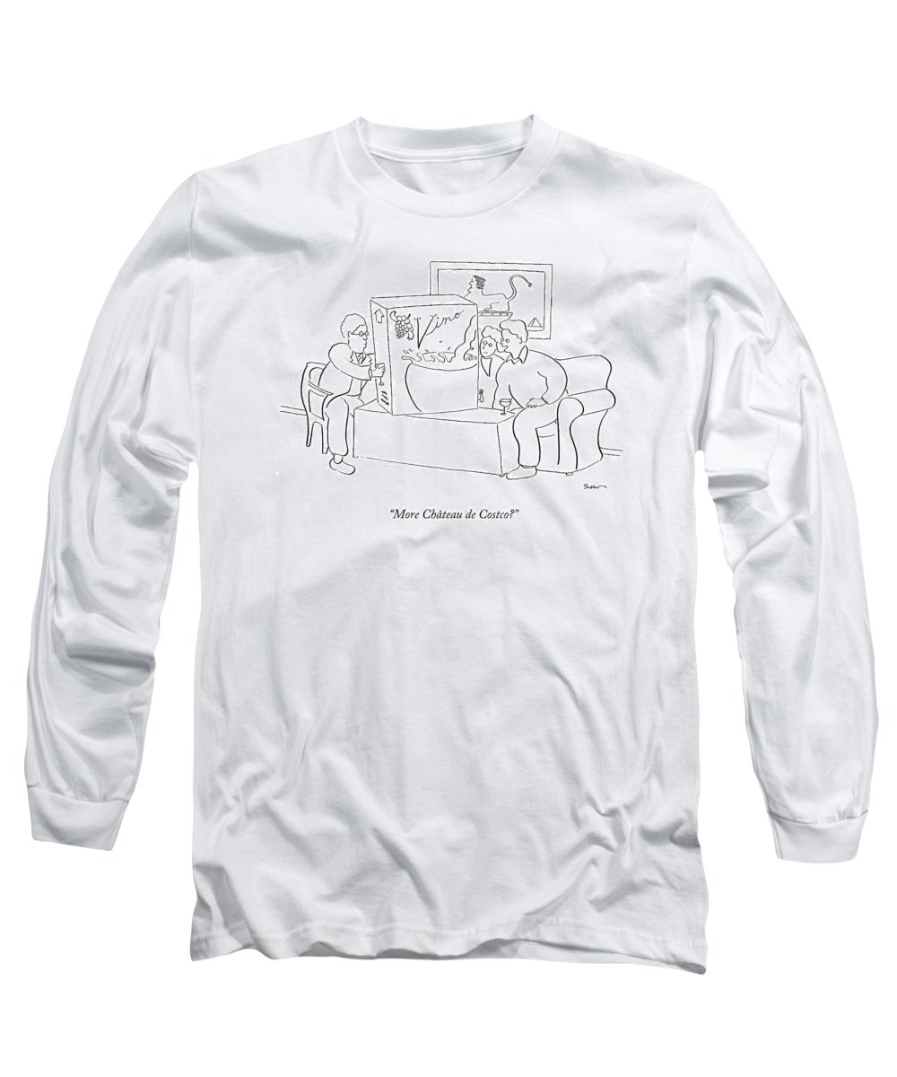Box Long Sleeve T-Shirt featuring the drawing More Chateau De Costco? by Michael Shaw