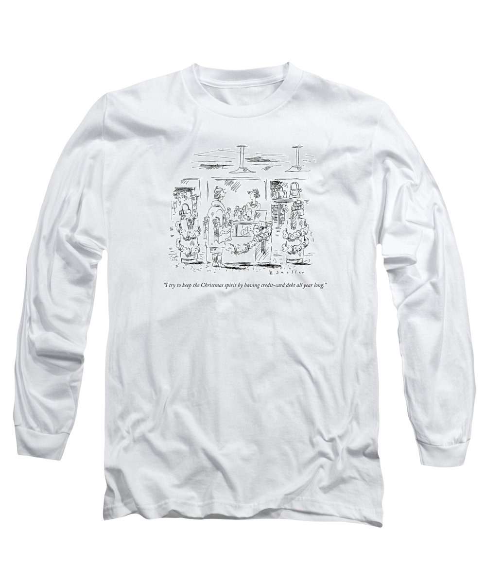 Winter Long Sleeve T-Shirt featuring the drawing I Try To Keep The Christmas Spirit By Having by Barbara Smaller