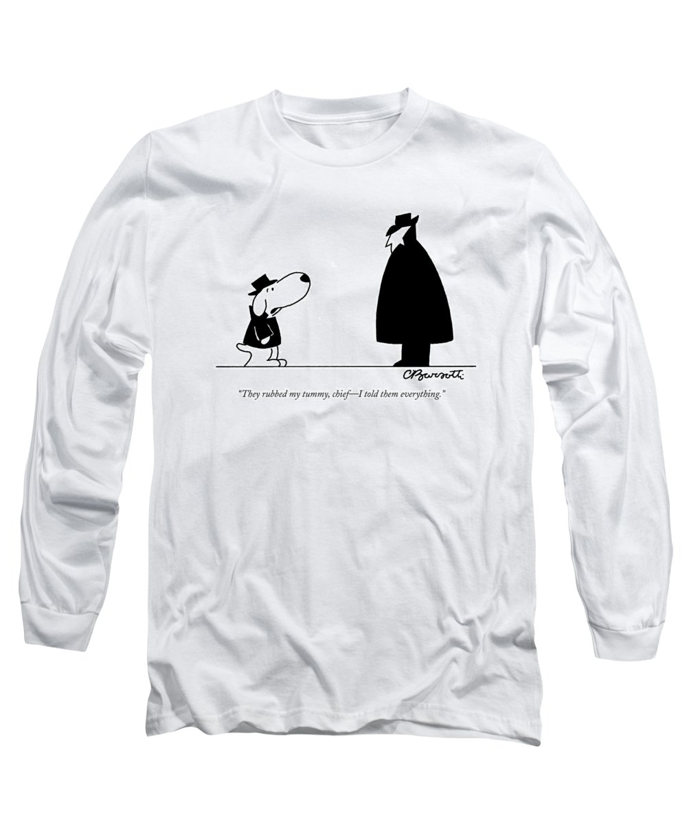 Interrogate Long Sleeve T-Shirt featuring the drawing They Rubbed My Tummy by Charles Barsotti