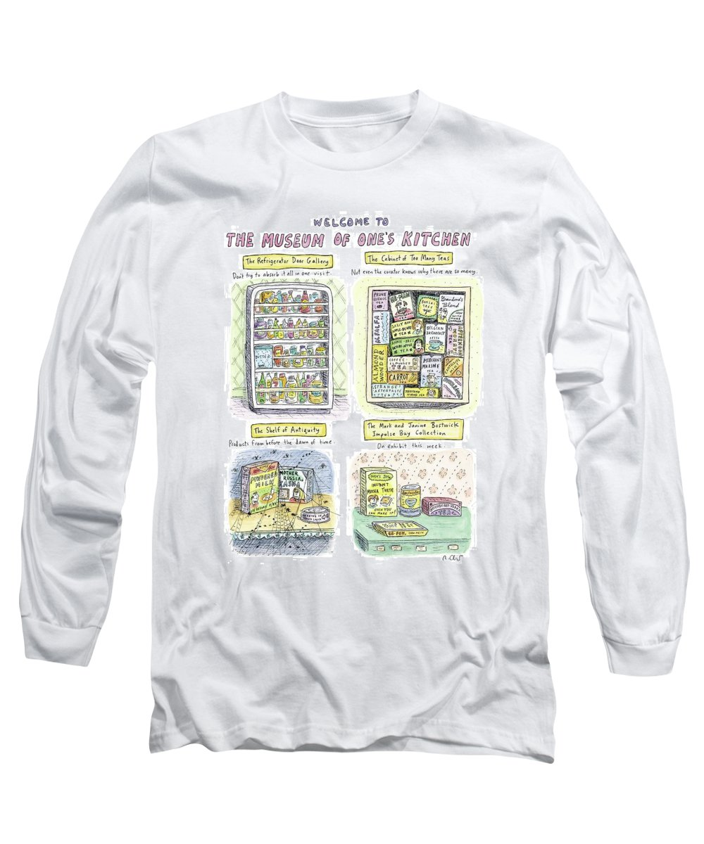 Kitchen Long Sleeve T-Shirt featuring the drawing New Yorker August 13th, 2007 by Roz Chast