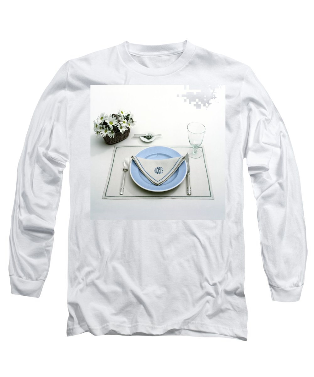 Utensils Long Sleeve T-Shirt featuring the photograph A Blue Table Setting by Haanel Cassidy