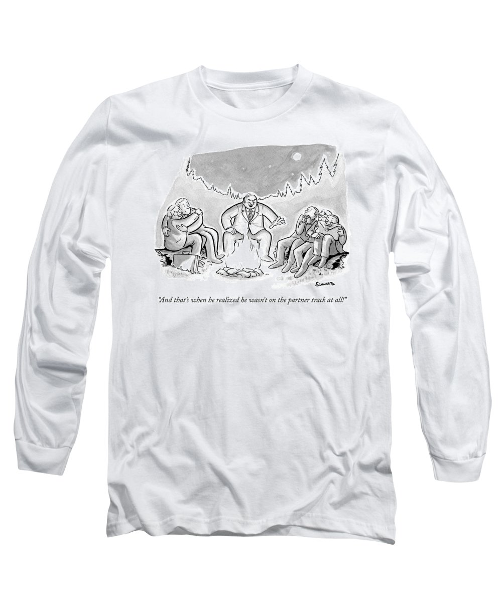 Businessmen Long Sleeve T-Shirt featuring the drawing A Businessman In A Suit Sits Telling A Story by Benjamin Schwartz