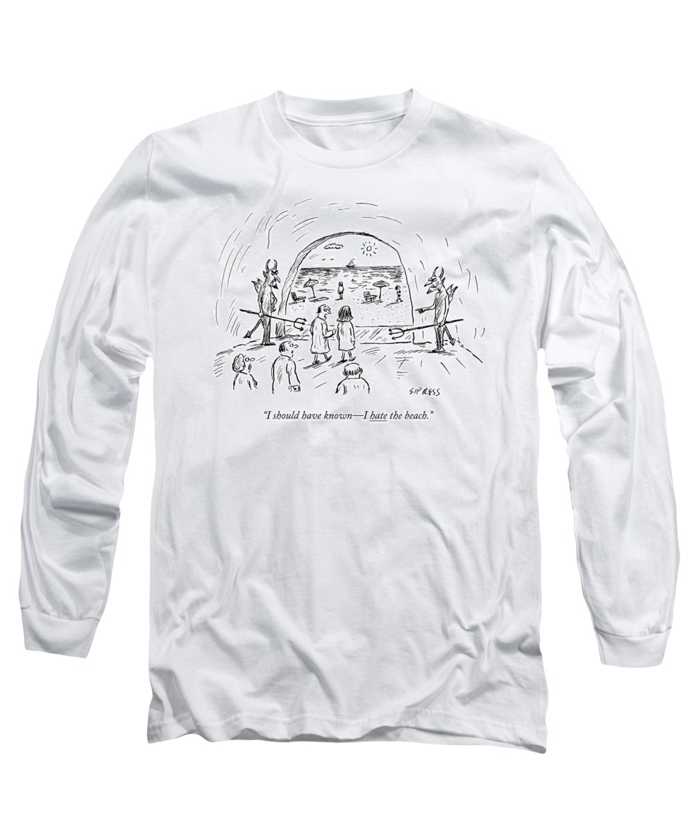 Hell Long Sleeve T-Shirt featuring the drawing A Couple In Hell Are Led Out To A Beach by David Sipress
