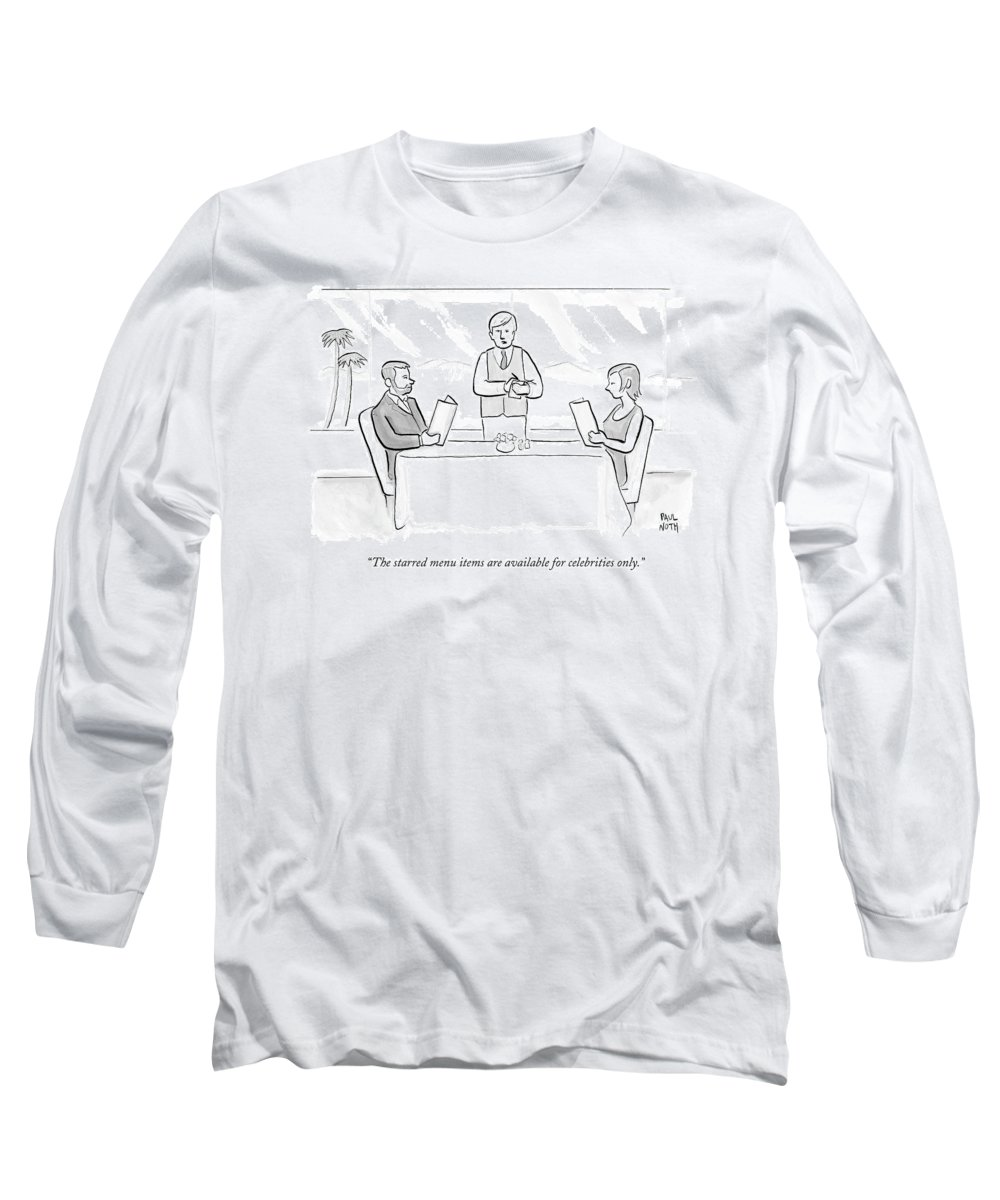 Restaurants Long Sleeve T-Shirt featuring the drawing A Couple Sit At A Restaurant Table by Paul Noth