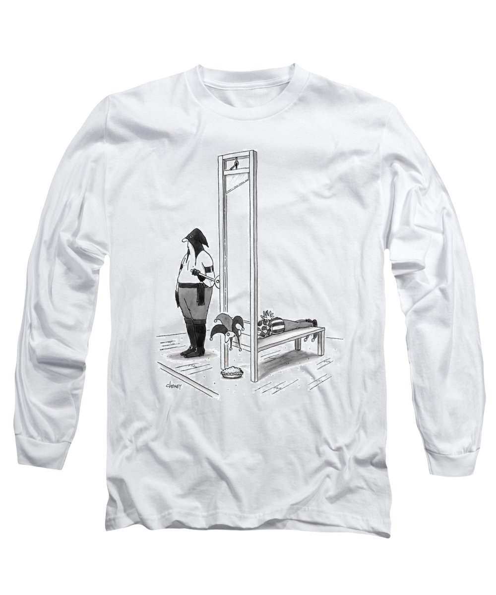 Executioners Long Sleeve T-Shirt featuring the drawing A Court Jester Is Awaiting The Guillotine by Tom Cheney