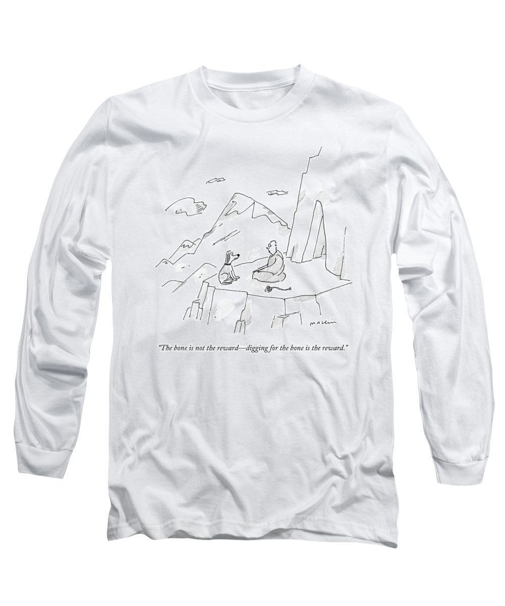 Dogs Long Sleeve T-Shirt featuring the drawing A Dog Speaks To A Guru On Top Of A Mountain by Michael Maslin