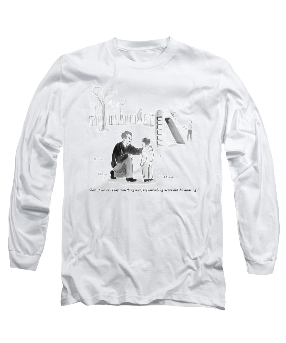 Advice Long Sleeve T-Shirt featuring the drawing A Father Encourages His Son At The Playground by Emily Flake