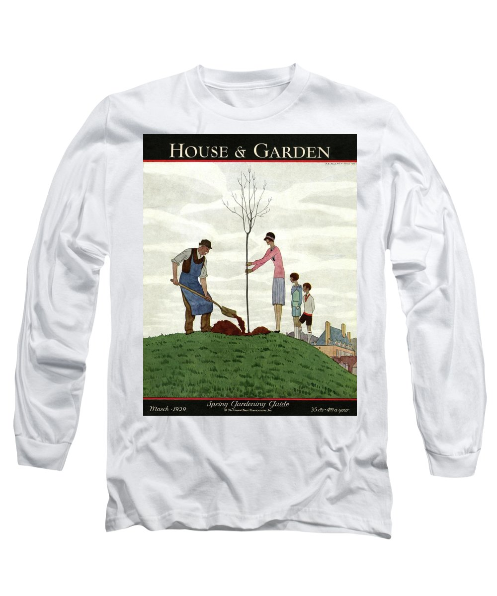 Illustration Long Sleeve T-Shirt featuring the photograph A House And Garden Cover Of People Planting by Andre E. Marty