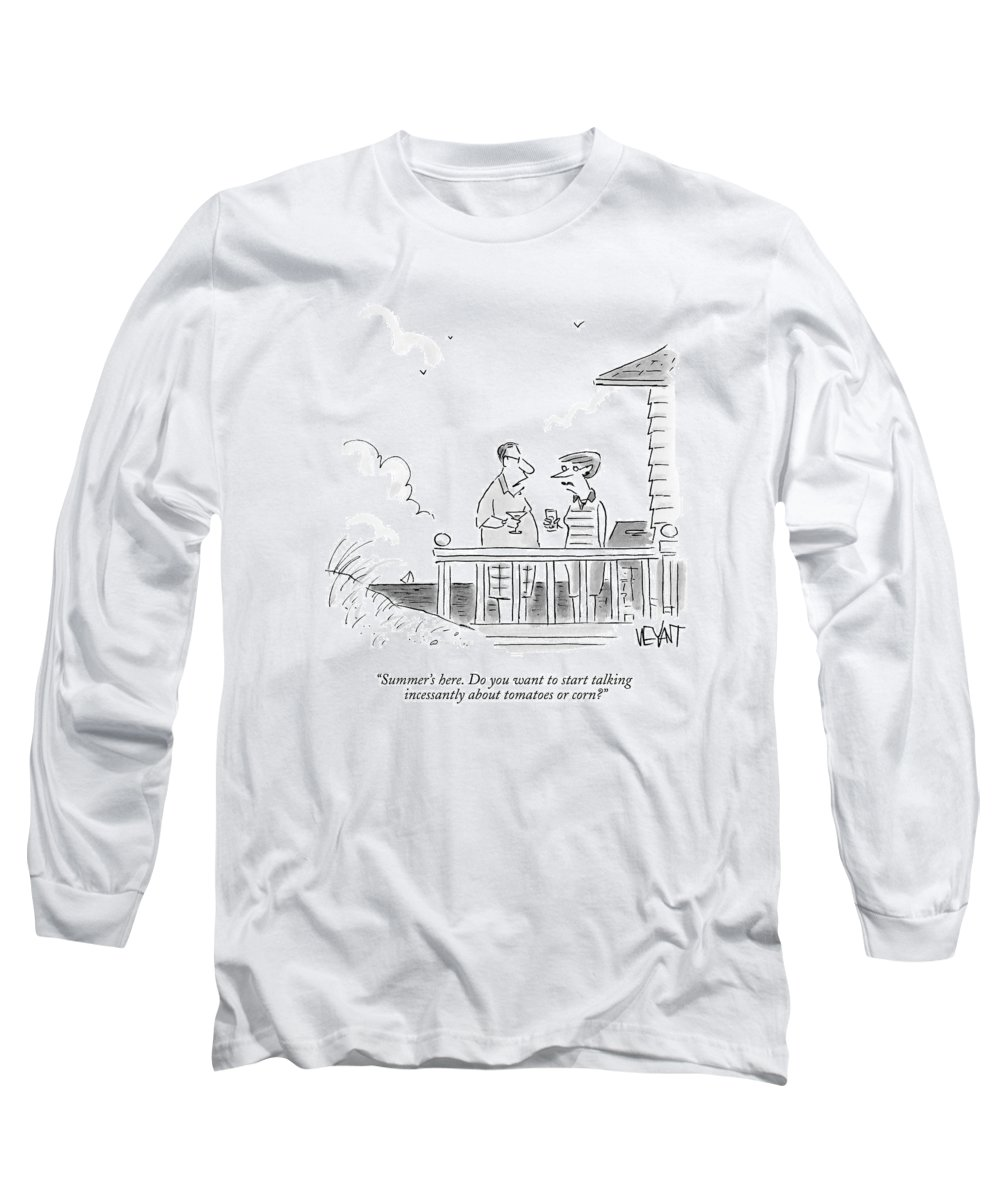 Couples Long Sleeve T-Shirt featuring the drawing A Husband Talks To A Wife On A Porch Of A Beach by Christopher Weyant