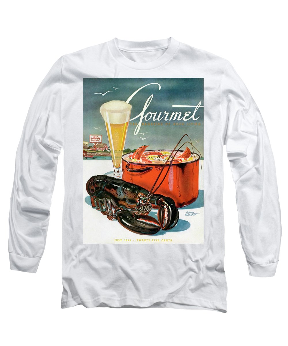Illustration Long Sleeve T-Shirt featuring the photograph A Lobster And A Lobster Pot With Beer by Henry Stahlhut