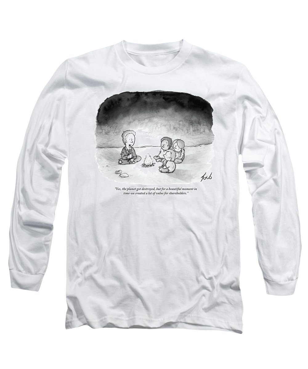 Yes Long Sleeve T-Shirt featuring the drawing A Man And 3 Children Sit Around A Fire by Tom Toro
