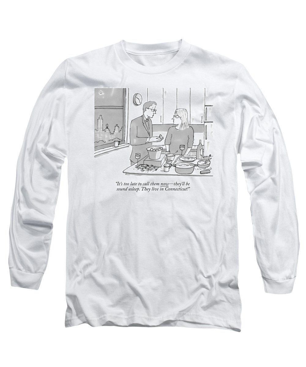 New York Long Sleeve T-Shirt featuring the drawing A Man And Wife Stand In The Kitchen by Michael Crawford