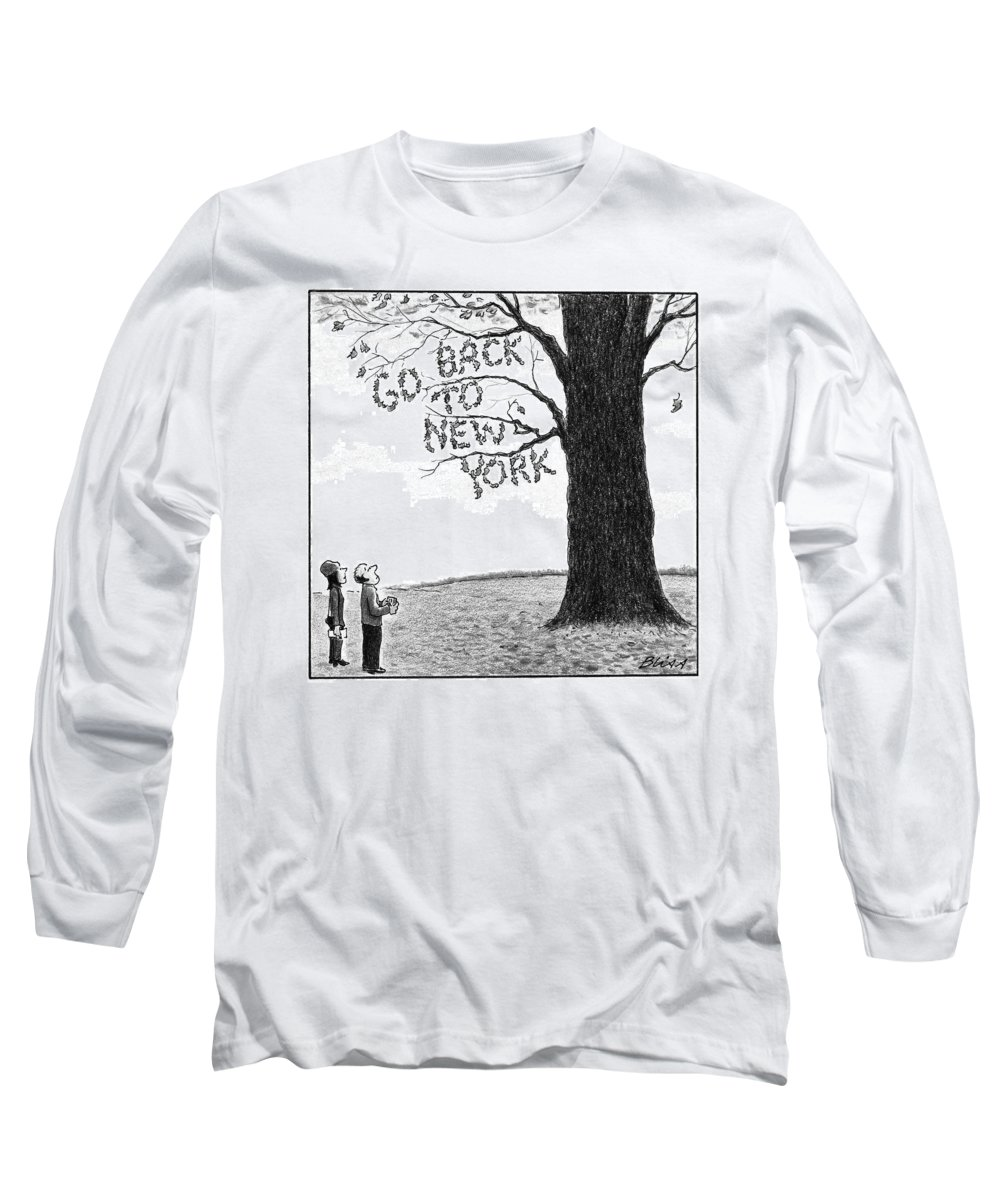 Leaves Long Sleeve T-Shirt featuring the drawing A Man And Woman Look At A Single Tree In A Field by Harry Bliss