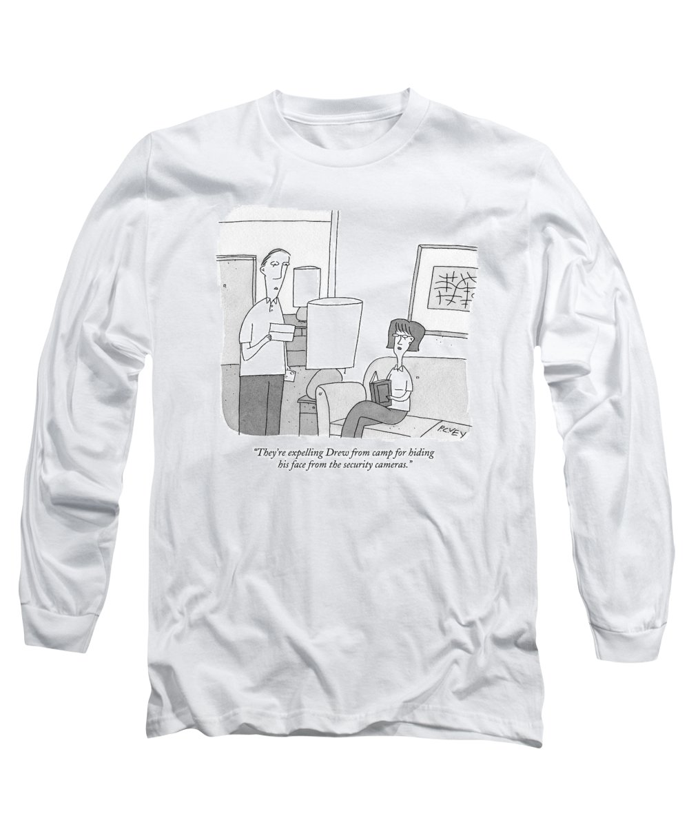 Privacy Long Sleeve T-Shirt featuring the drawing A Man Reads A Letter Aloud To His Wife by Peter C. Vey