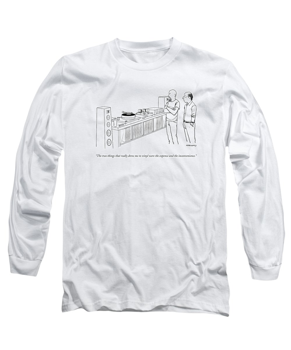 Records Long Sleeve T-Shirt featuring the drawing A Man Shows Another Man His Extensive Collection by Alex Gregory