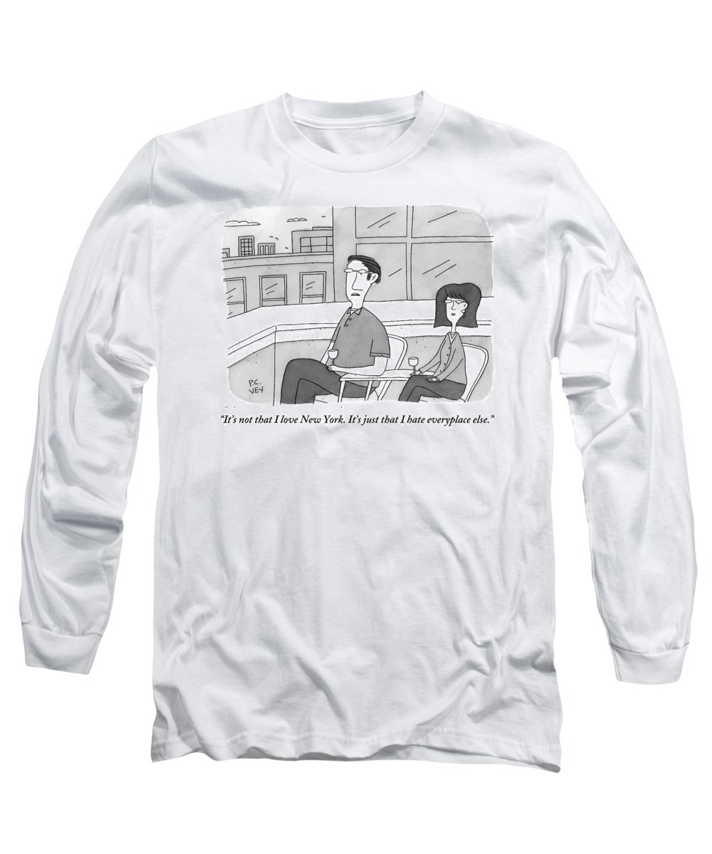 New York Long Sleeve T-Shirt featuring the drawing A Man Speaks To A Woman On A Balcony In The City by Peter C. Vey
