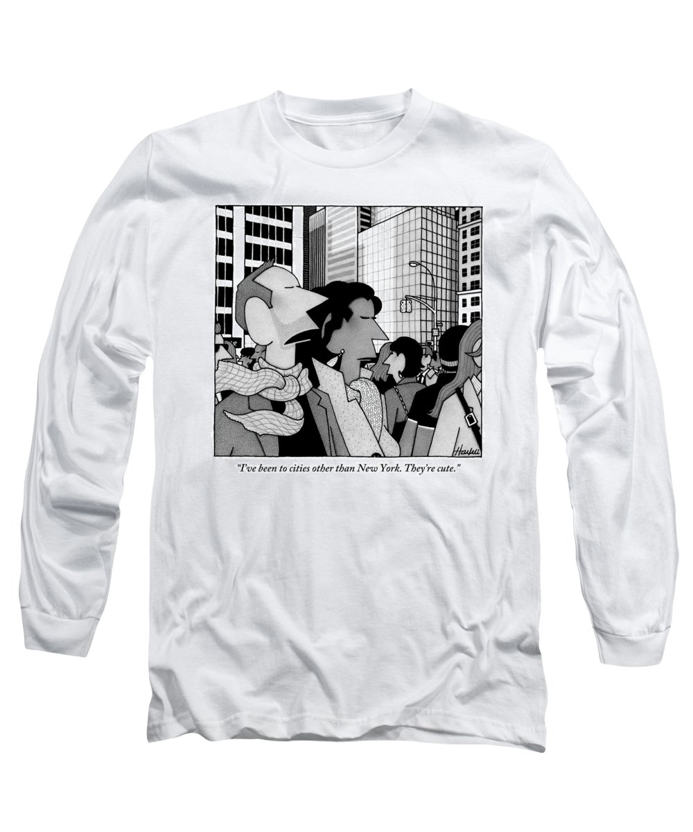 New York City Long Sleeve T-Shirt featuring the drawing A Man Speaks To His Wife In The Midst Of New York by William Haefeli