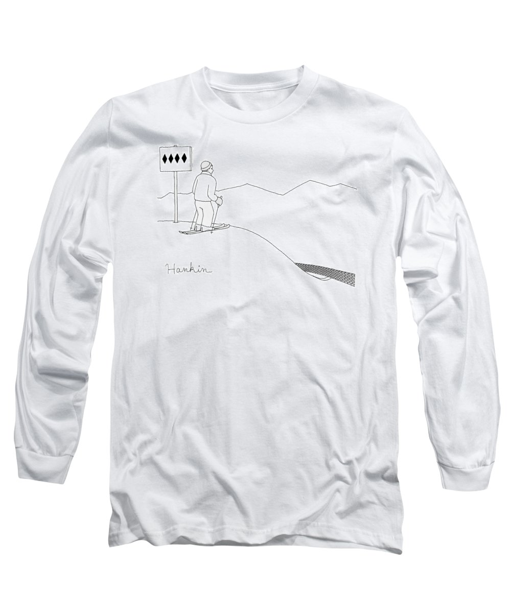 Captionless Long Sleeve T-Shirt featuring the drawing A Man Stands At The Top Of A Ski Slope by Charlie Hankin