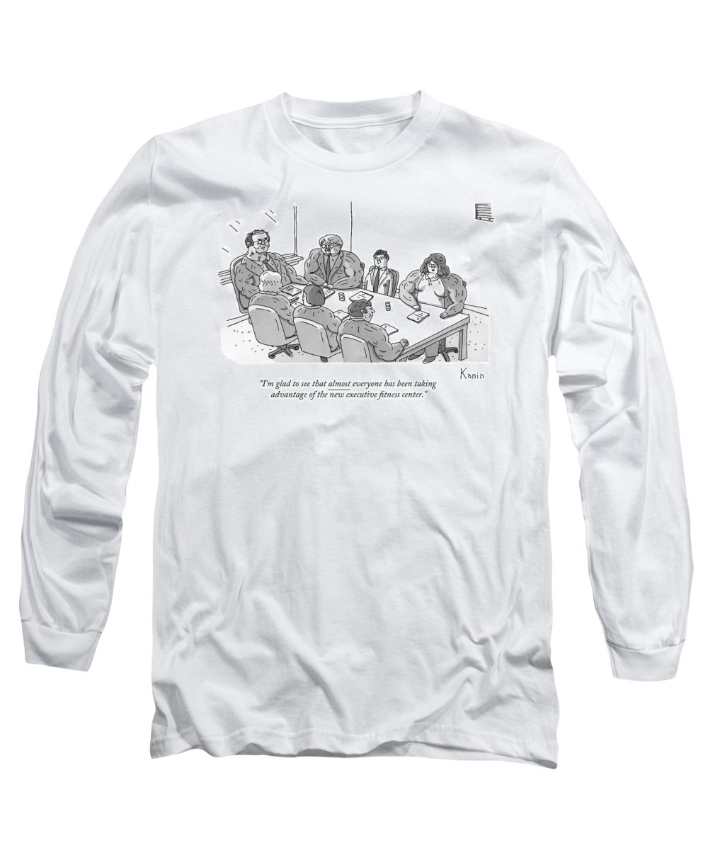 Gym Long Sleeve T-Shirt featuring the drawing A Normally Sized Man Sits At A Board Meeting Full by Zachary Kanin