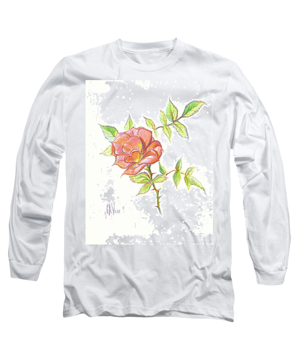 A Rose In Brigadoon Long Sleeve T-Shirt featuring the drawing A Rose In Brigadoon by Kip DeVore