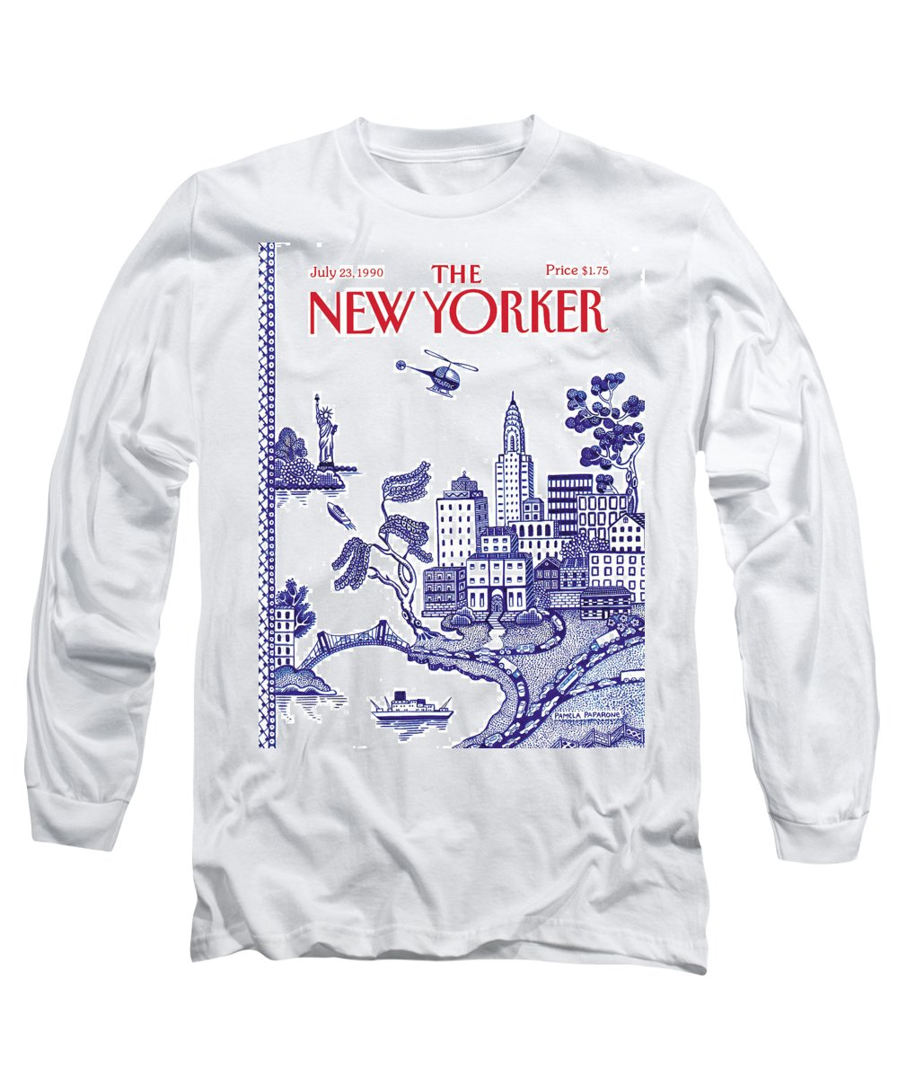 New York City Long Sleeve T-Shirt featuring the painting A View Of New York City by Pamela Paparone