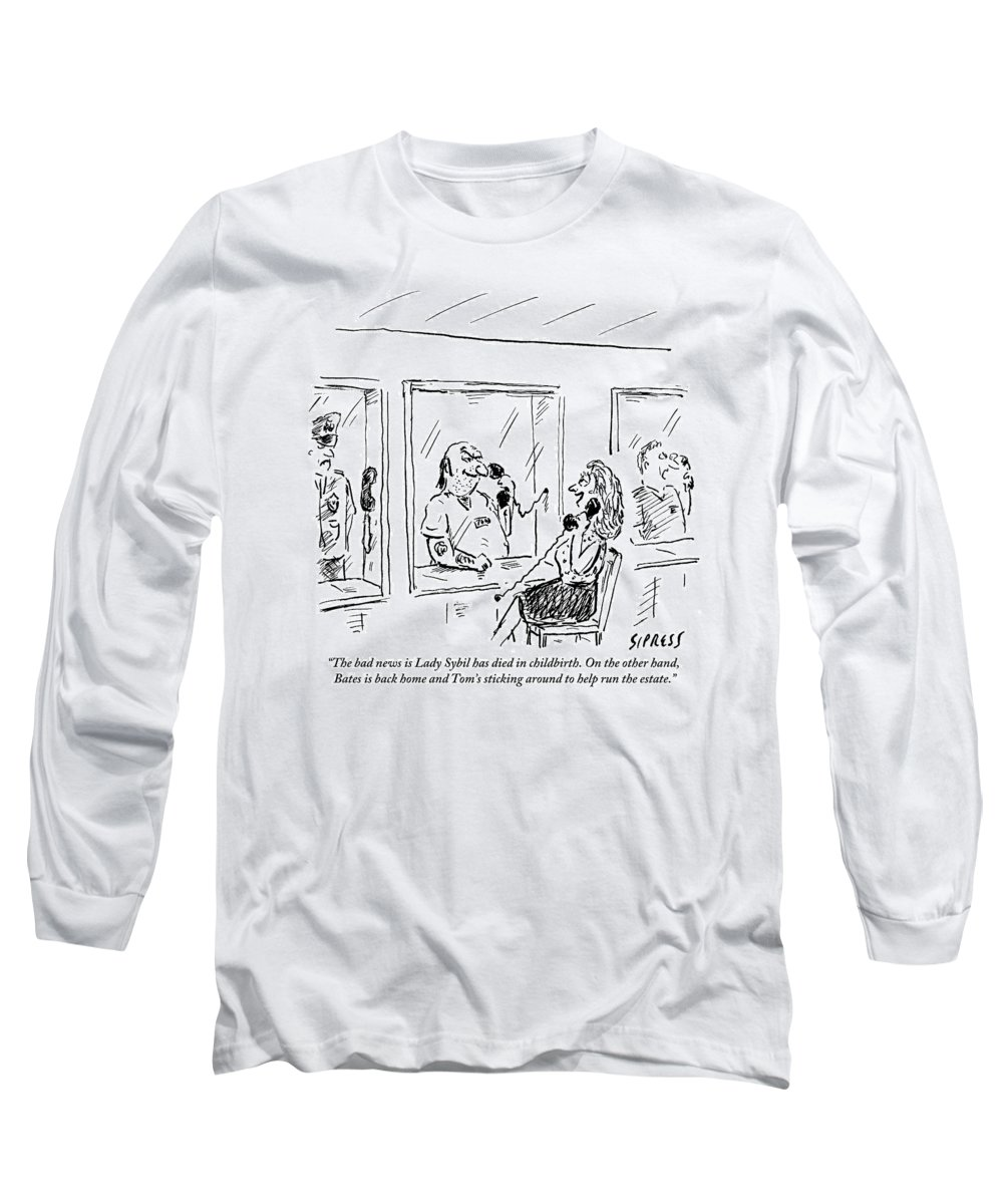 Jail Long Sleeve T-Shirt featuring the drawing A Wife Visits Her Husband In Prison by David Sipress