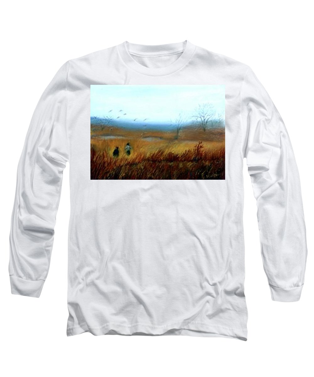 Figures Long Sleeve T-Shirt featuring the painting A Winter Walk by Gail Kirtz