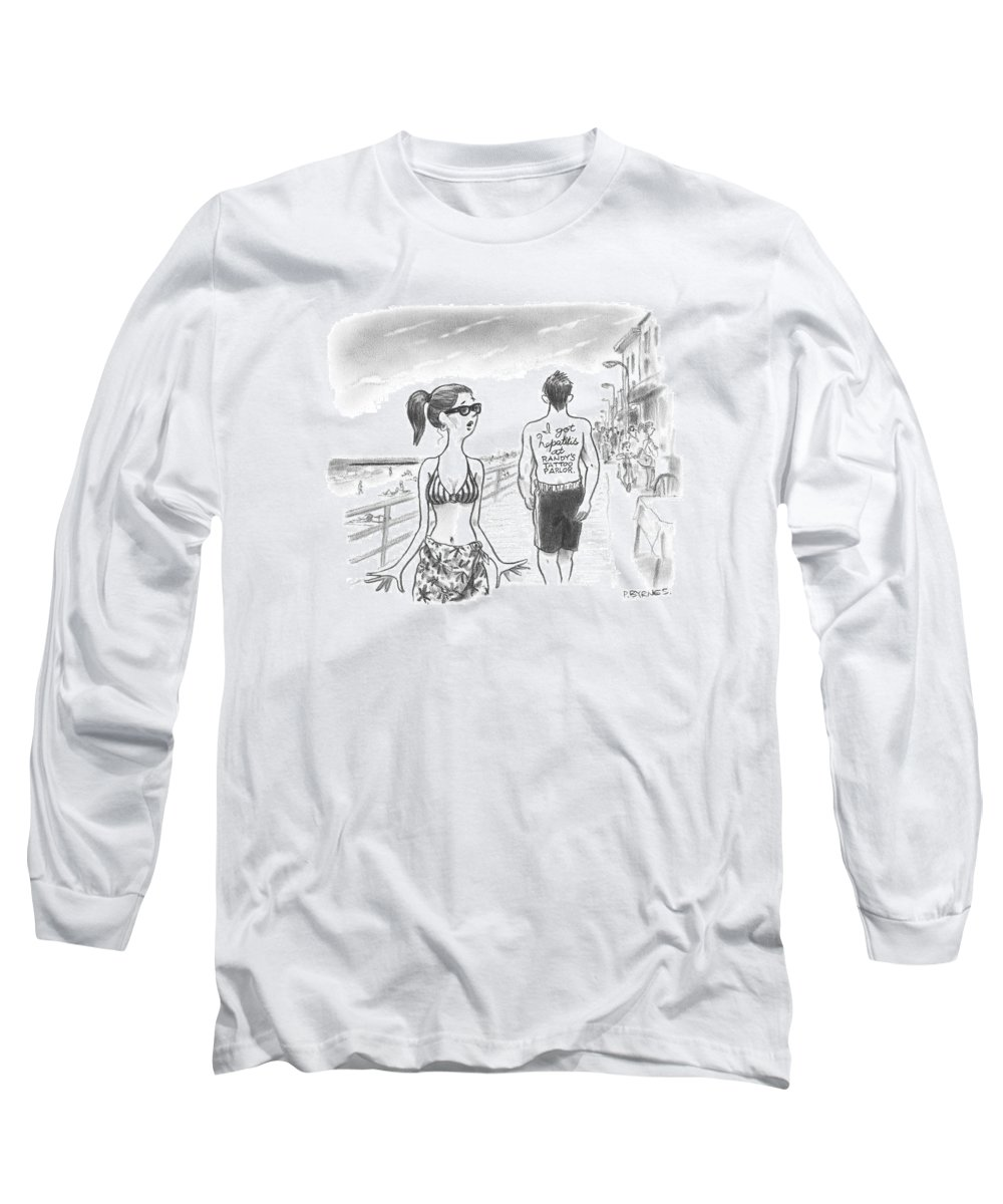 Tattoos Long Sleeve T-Shirt featuring the drawing A Woman Passes A Man On The Boardwalk. Tattooed by Pat Byrnes