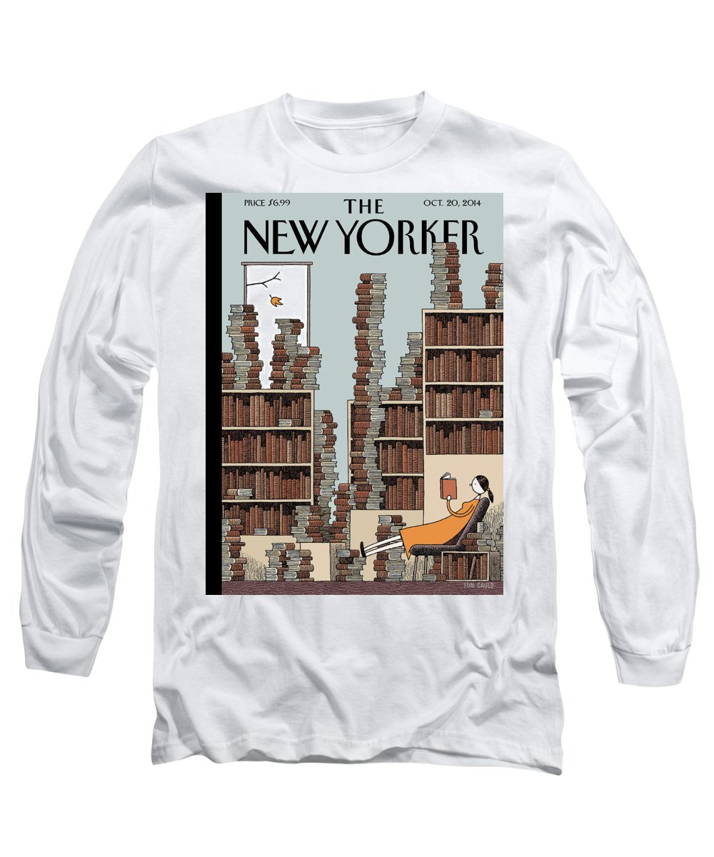 Books Long Sleeve T-Shirt featuring the painting Fall Library by Tom Gauld