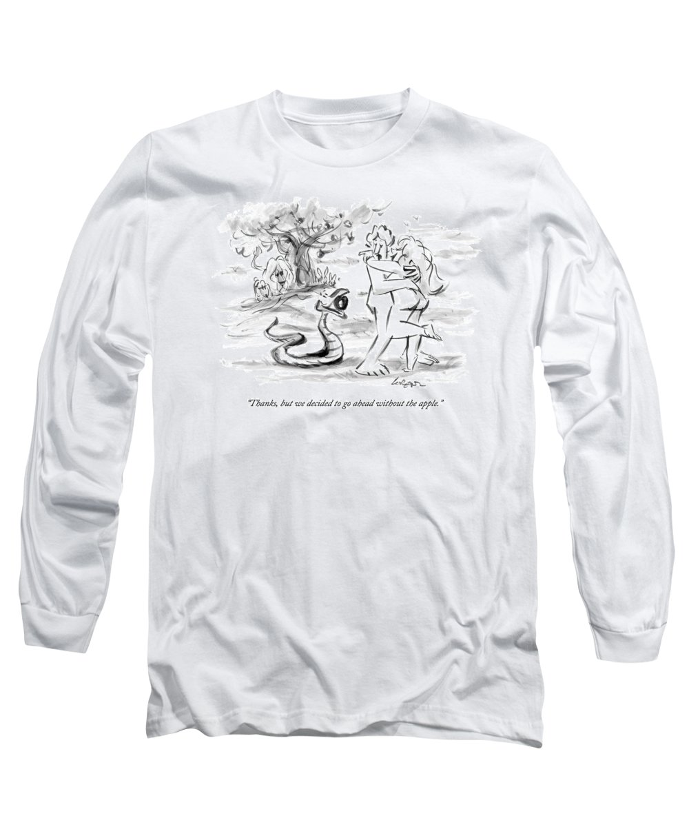 Adam And Eve Long Sleeve T-Shirt featuring the drawing Adam And Eve Embrace In The Garden Of Eden by Lee Lorenz