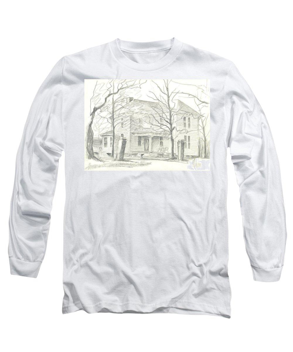 American Home Ii Long Sleeve T-Shirt featuring the drawing American Home II by Kip DeVore