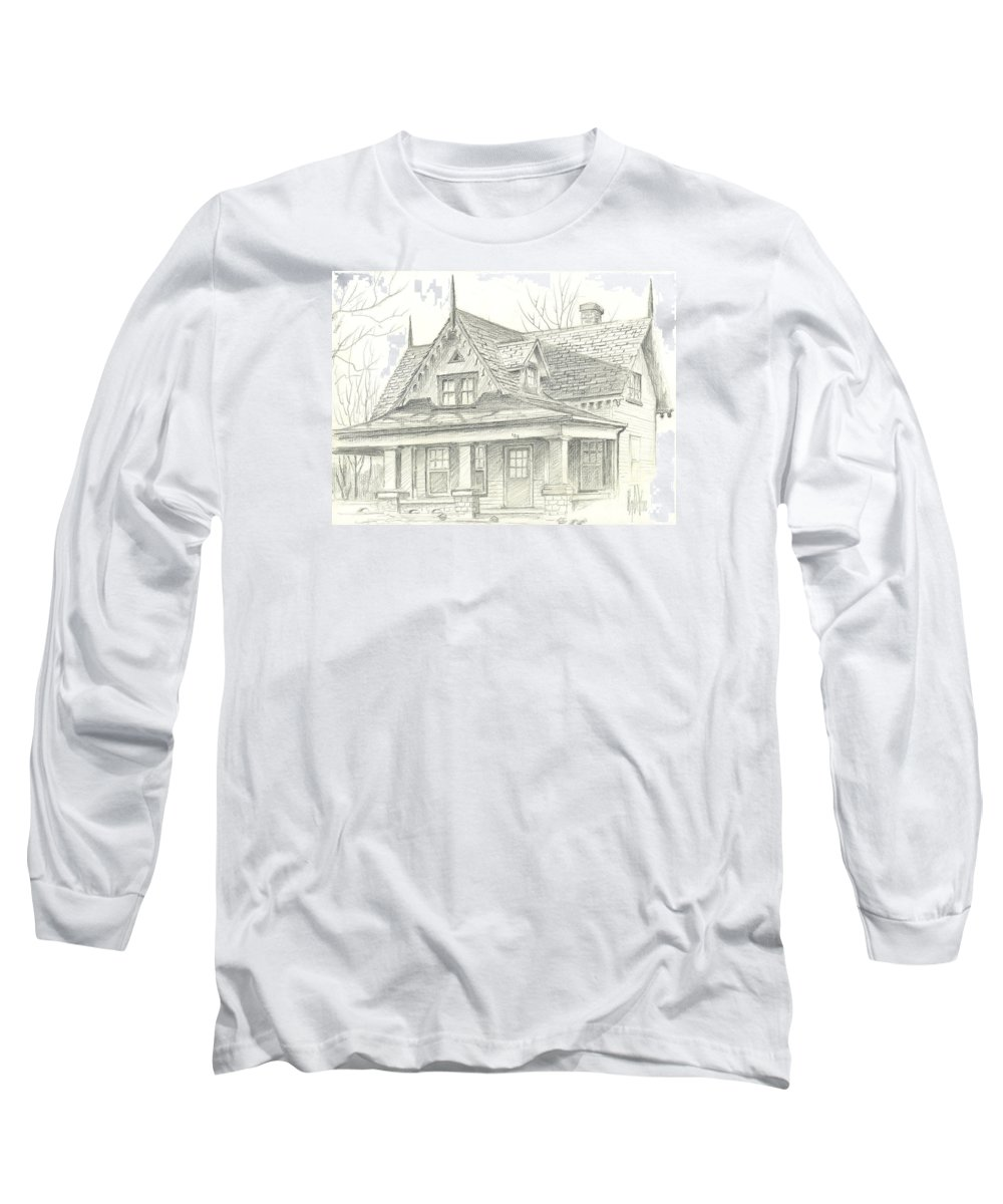 American Home Long Sleeve T-Shirt featuring the drawing American Home by Kip DeVore