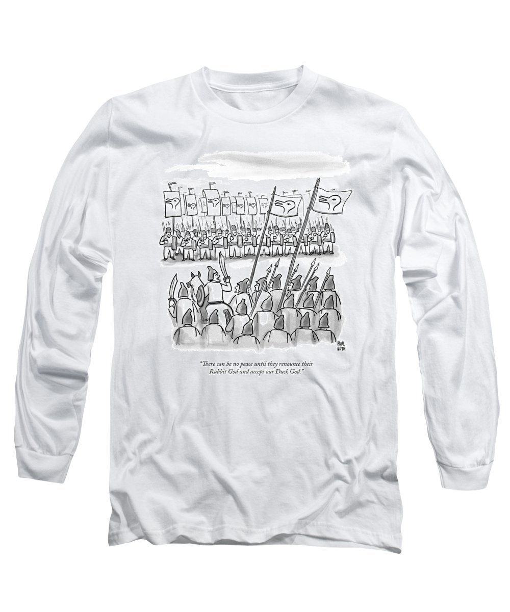 War Long Sleeve T-Shirt featuring the drawing An Army Lines Up For Battle by Paul Noth