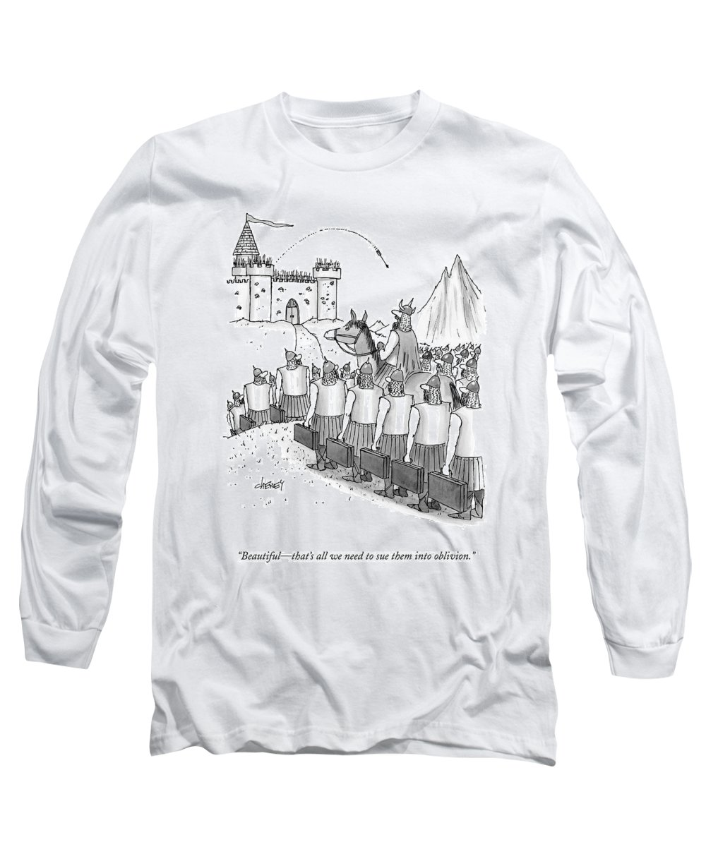 Lawsuits Long Sleeve T-Shirt featuring the drawing An Army Of Vikings Hold Briefcases by Tom Cheney
